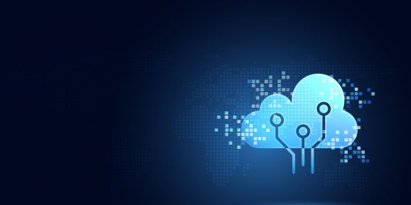 Futuristic blue cloud with pixel digital transformation abstract new technology background.