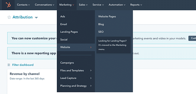 Drop-down menu in HubSpot dashboard leading to website pages