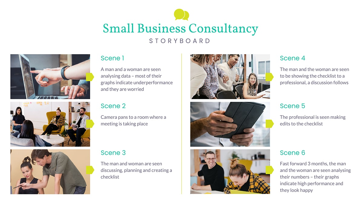 A storyboard template available to customize in Visme.